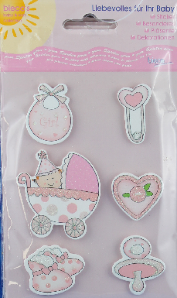 bieco Sticker mit BABYMOTIVEN  -rose-